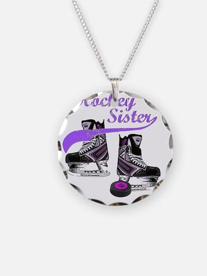 hockey_sister_purple Necklace Circle Charm