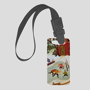 funny christmas hockey iphone ca Small Luggage Tag