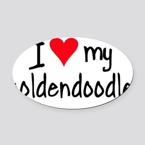I LOVE MY Goldendoodle Oval Car Magnet