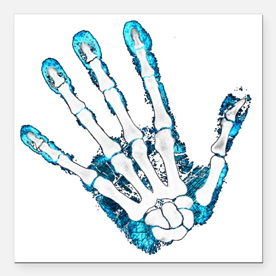 "Blue Hand Square Car Magnet 3"" x 3"""