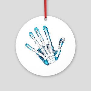 Blue Hand Round Ornament