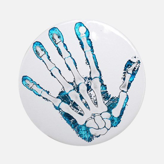 Blue Hand Round Ornament