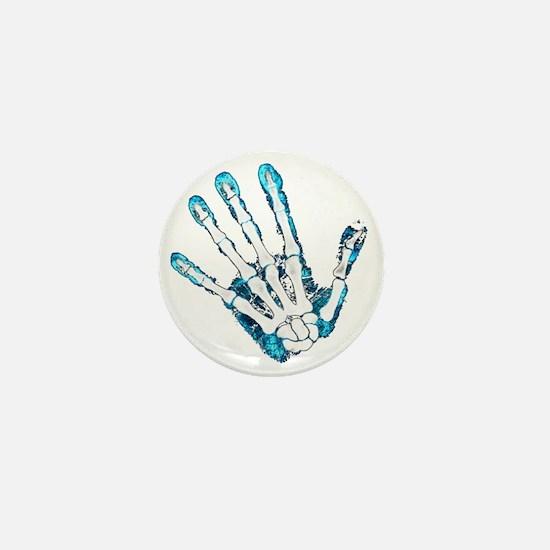 Blue Hand Mini Button