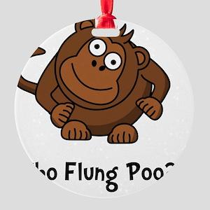 Monkey Flung Poo Black Round Ornament