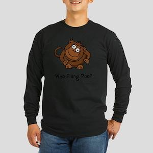 Monkey Flung Poo Black Long Sleeve Dark T-Shirt