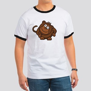 Monkey Flung Poo White Ringer T