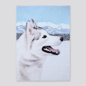 Siberian Husky (Silver and White) 5'x7'Area Rug