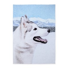 Siberian Husky (Silver and White) 5'x7'Area Rug
