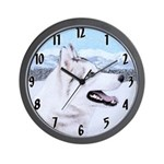 Siberian Husky (Silver and White) Wall Clock