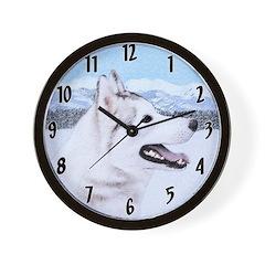 Siberian Husky (Silver and White) Wall Clock