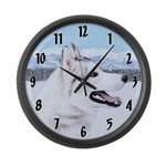 Siberian Husky (Silver and White) Large Wall Clock