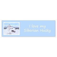 Siberian Husky (Silver and White) Sticker (Bumper)