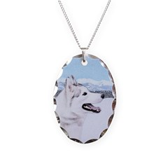 Siberian Husky (Silver and Whi Necklace