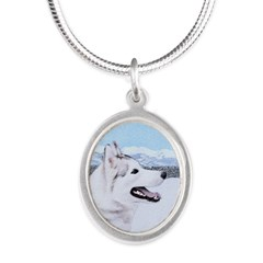 Siberian Husky (Silver and Wh Silver Oval Necklace