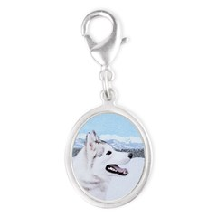 Siberian Husky (Silver and Whit Silver Oval Charm