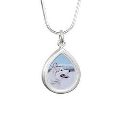 Siberian Husky (Silver a Silver Teardrop Necklace