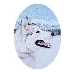 Siberian Husky (Silver and White) Oval Ornament