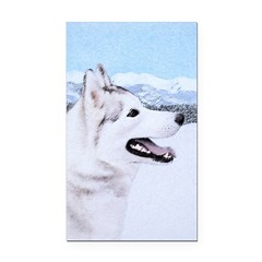 Siberian Husky (Silver and Wh Rectangle Car Magnet