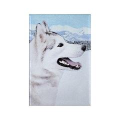Siberian Husky (Silver Rectangle Magnet (100 pack)