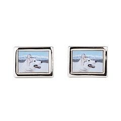 Siberian Husky (Silver and W Rectangular Cufflinks