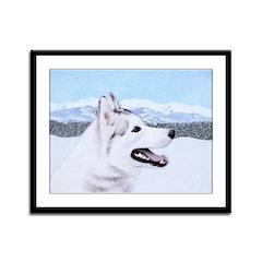 Siberian Husky (Silver and Whit Framed Panel Print