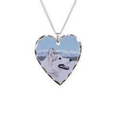 Siberian Husky (Silver and Wh Necklace