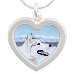 Siberian Husky (Silver and W Silver Heart Necklace