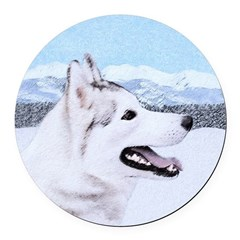 Siberian Husky (Silver and White) Round Car Magnet
