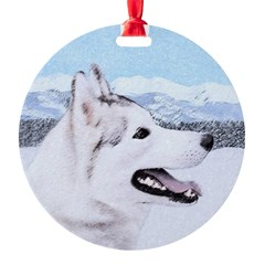 Siberian Husky (Silver and White) Ornament