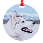 Siberian Husky (Silver and White) Round Ornament