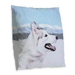 Siberian Husky (Silver and Whi Burlap Throw Pillow