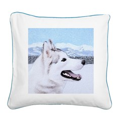 Siberian Husky (Silver and Wh Square Canvas Pillow