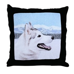 Siberian Husky (Silver and White) Throw Pillow