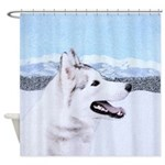 Siberian Husky (Silver and White) Shower Curtain