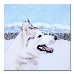Siberian Husky (Silver a Square Car Magnet 3