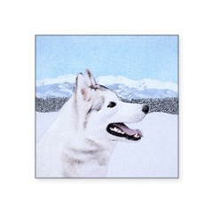 Siberian Husky (Silver and Square Sticker 3