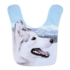 Siberian Husky (Silver and Whit Polyester Baby Bib