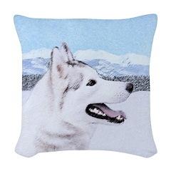 Siberian Husky (Silver and Whi Woven Throw Pillow