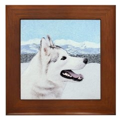 Siberian Husky (Silver and White) Framed Tile