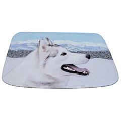 Siberian Husky (Silver and White) Bathmat