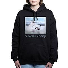 Siberian Husky (Silver a Women's Hooded Sweatshirt