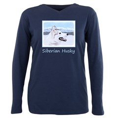 Siberian Husky (Silver a Plus Size Long Sleeve Tee