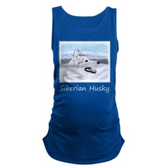 Siberian Husky (Silver and Whit Maternity Tank Top