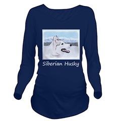 Siberian Husky (Silv Long Sleeve Maternity T-Shirt