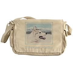 Siberian Husky (Silver and White) Messenger Bag