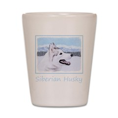 Siberian Husky (Silver and White) Shot Glass