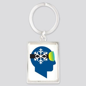 think snow blue2 Portrait Keychain