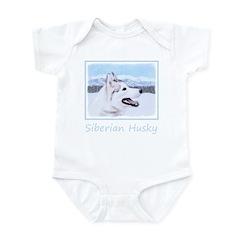 Siberian Husky (Silver and Whi Baby Light Bodysuit