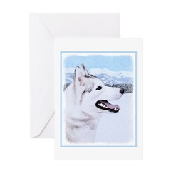 Siberian Husky (Silver and White) Greeting Card