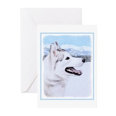 Siberian Husky (Silver a Greeting Cards (Pk of 10)